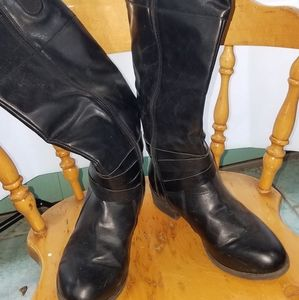 Black faux leather calf high insulated boots